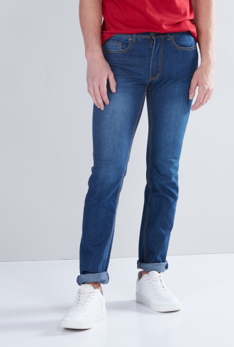 Straight Fit Stretchable Jeans with 5-Pockets